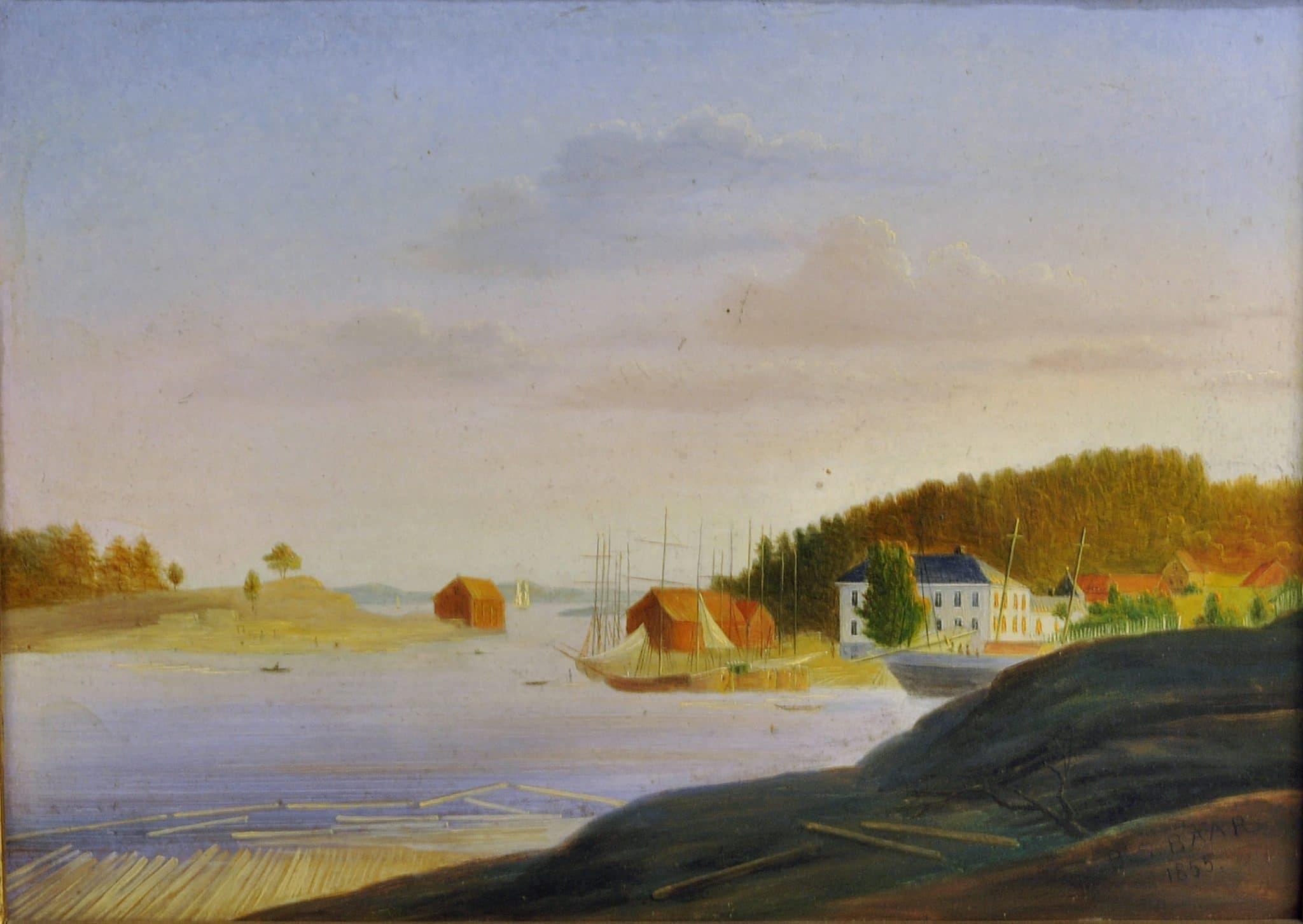 Anders Baar malte anlegget med lysthuset på Kjellestad i 1855. (Telemark Museum)